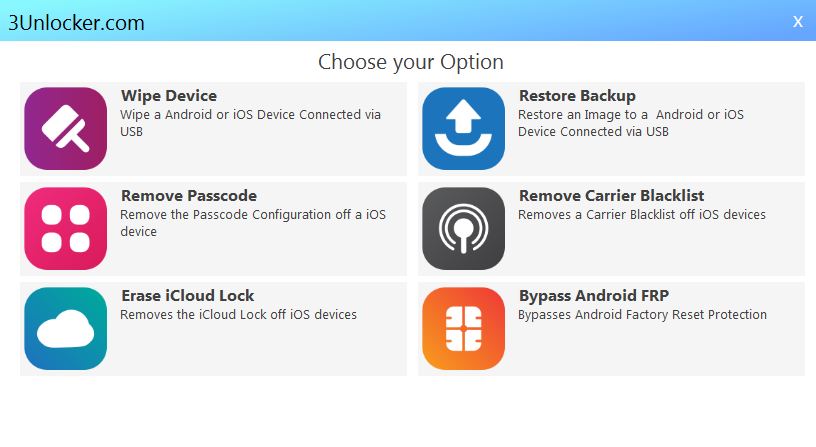 Using 3Unlocker com to Remove iCloud Lock from any iOS